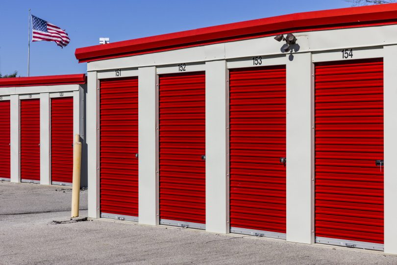 Numbered Self Storage garage