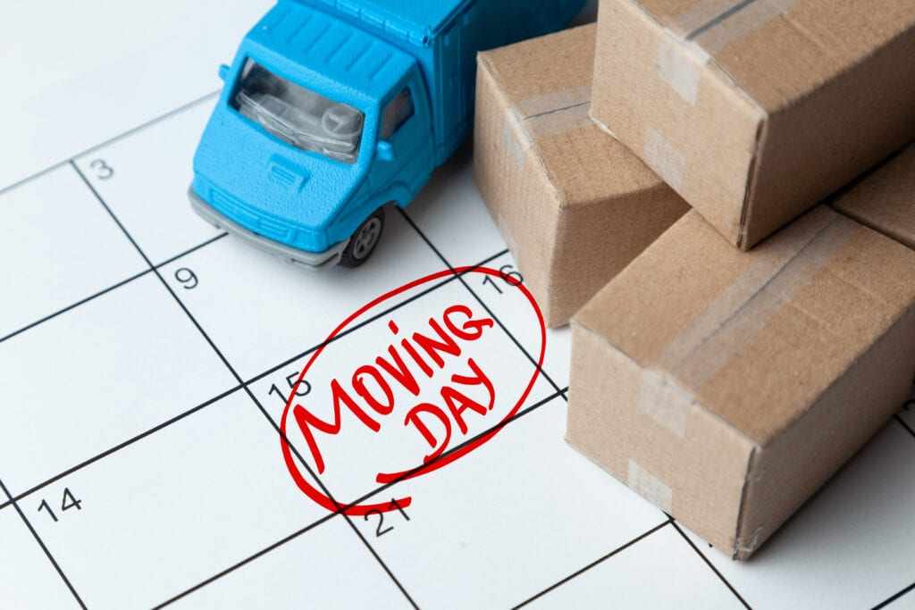 Moving day marked on a calendar
