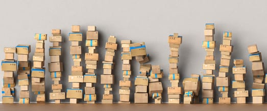 many boxes stacked against a wall