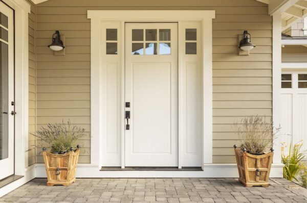 white front door of a home