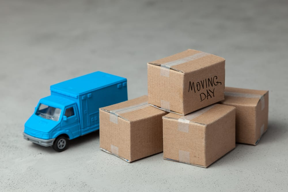 small moving truck and boxes