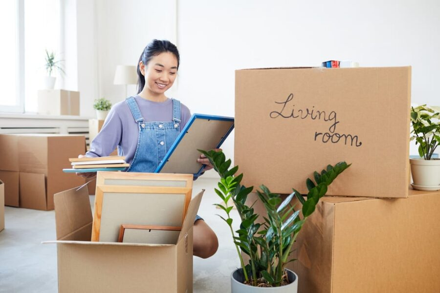 woman with living room boxes
