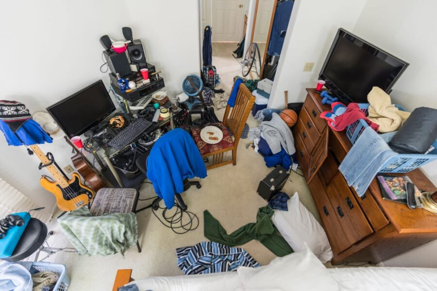 disorganized bedroom from above