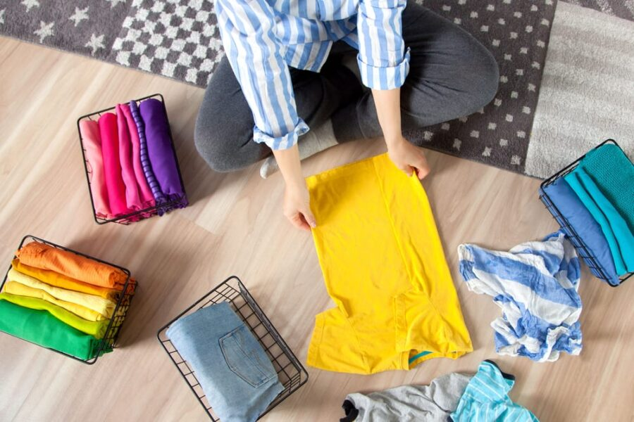 folding and sorting clothes