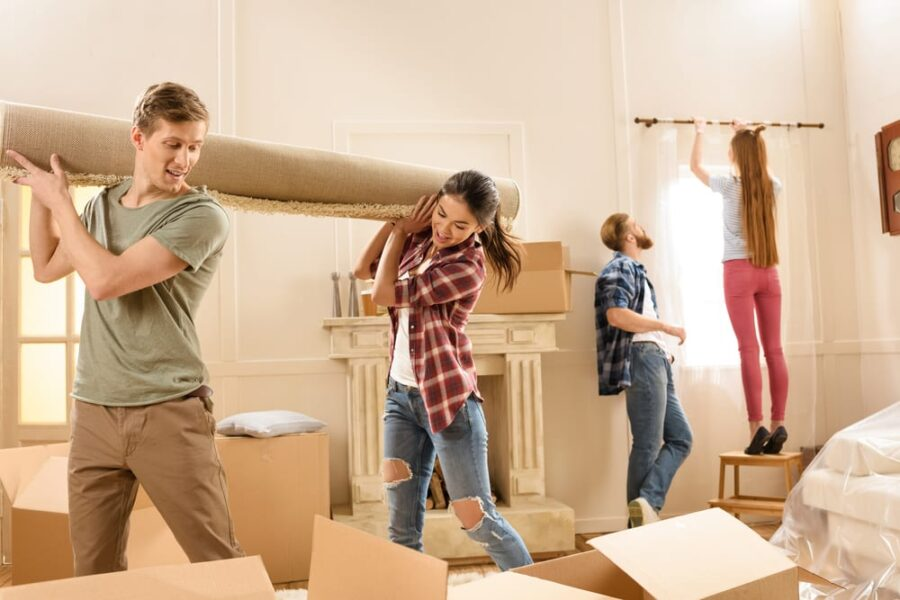 friends helping move house