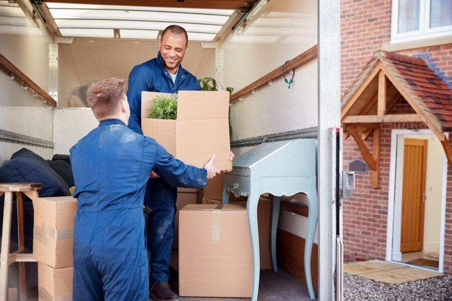 moving men loading truck