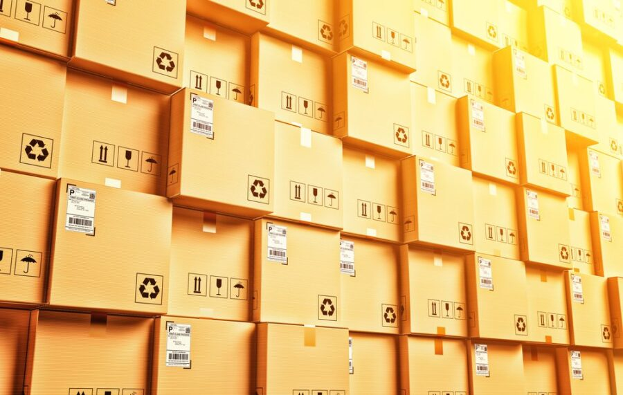 wall of shipping boxes