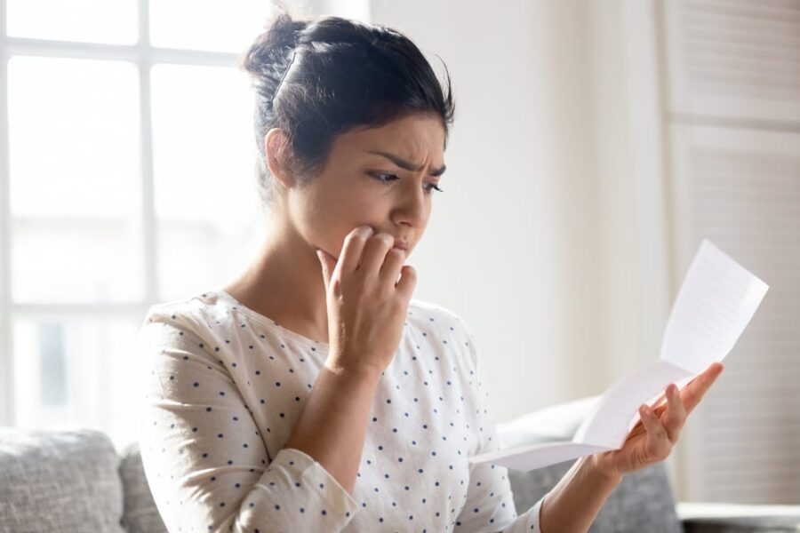 woman unhappy with contract