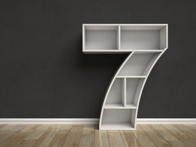 shelves shaped like number 7