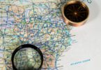 map with magnifying glass US