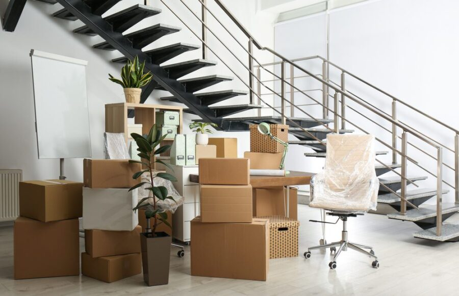 office move boxes staircase