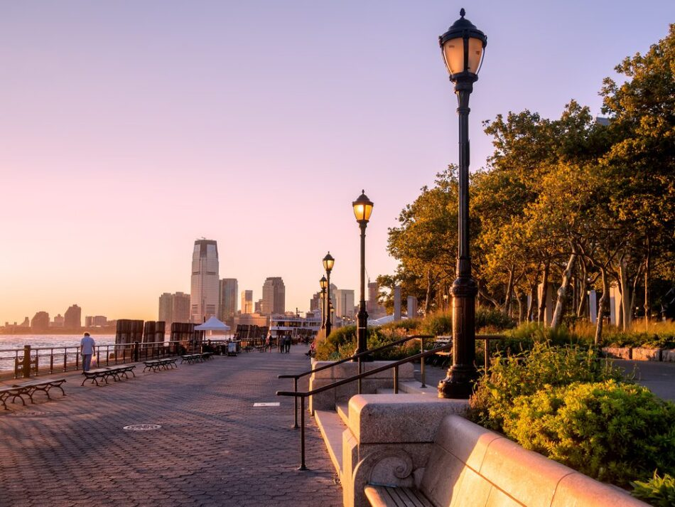 sunset at battery park city nyc