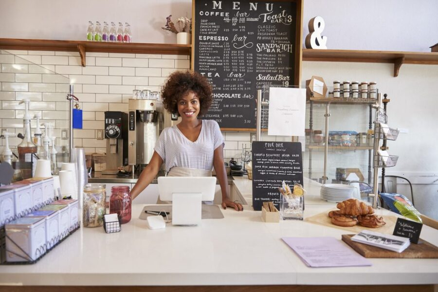 woman at coffee shop counter