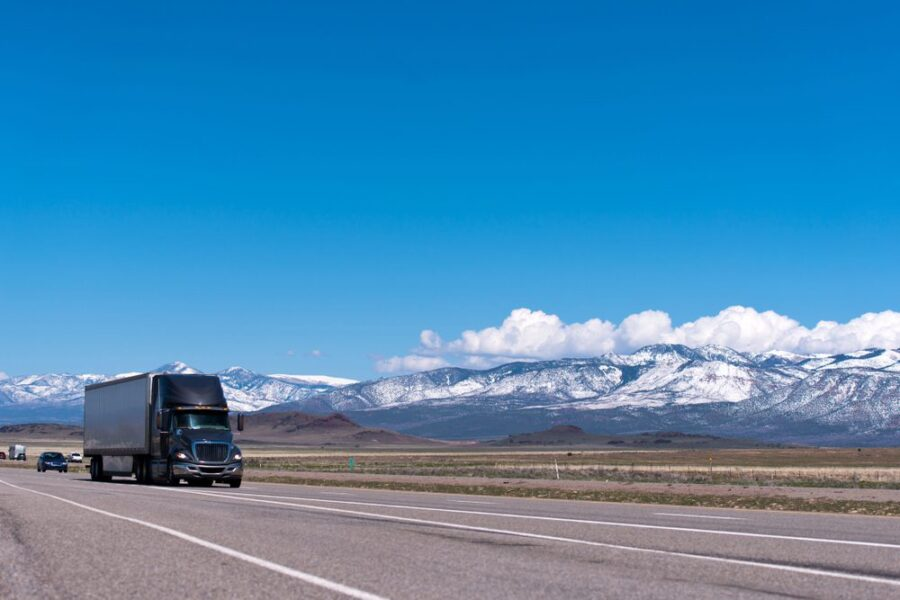 long distance moving truck mountains